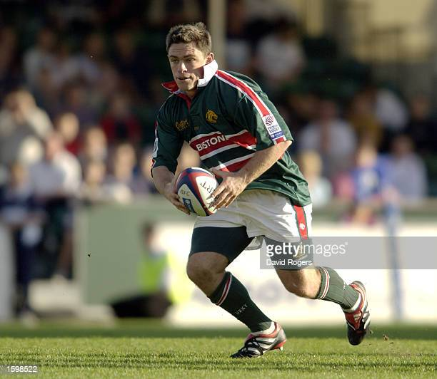 Rod Kafer of Leicester charges forward with the ball during the Zurich Premiership match between the Bristol Shoguns and the Leicester Tigers on...