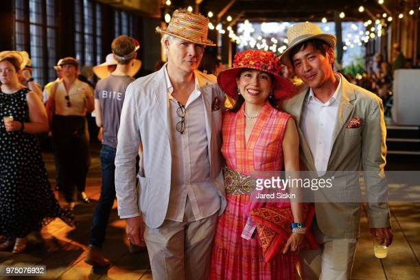 Rod Keenan Marisol Deluna and Gary Yu attend the 2018 High Line Hat Party at the The High Line on June 14 2018 in New York City