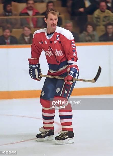 Rod Langway of the Washington Capitals skates against the Toronto Maple Leafs during NHL game action on December 10 1986 at Maple Leaf Gardens in...