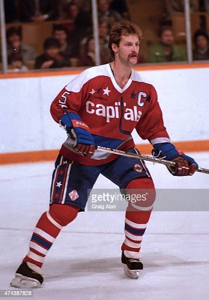 Rod Langway of the Washington Capitals watches the play against the Toronto Maple Leafs during dame action at Maple Leaf Gardens in Toronto Ontario...