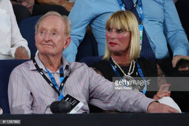 Rod Laver and Andrea Eliscu watch the men's singles final between Roger Federer of Switzerland and Marin Cilic of Croatia on day 14 of the 2018...