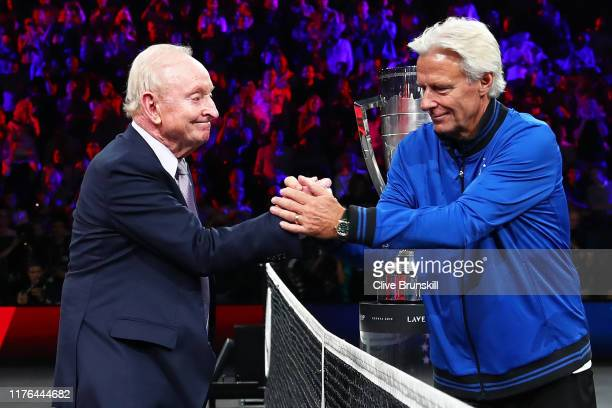 Rod Laver and Bjorn Borg, Captain of Team Europe shake hands prior to the start of play during Day Three of the Laver Cup 2019 at Palexpo on...