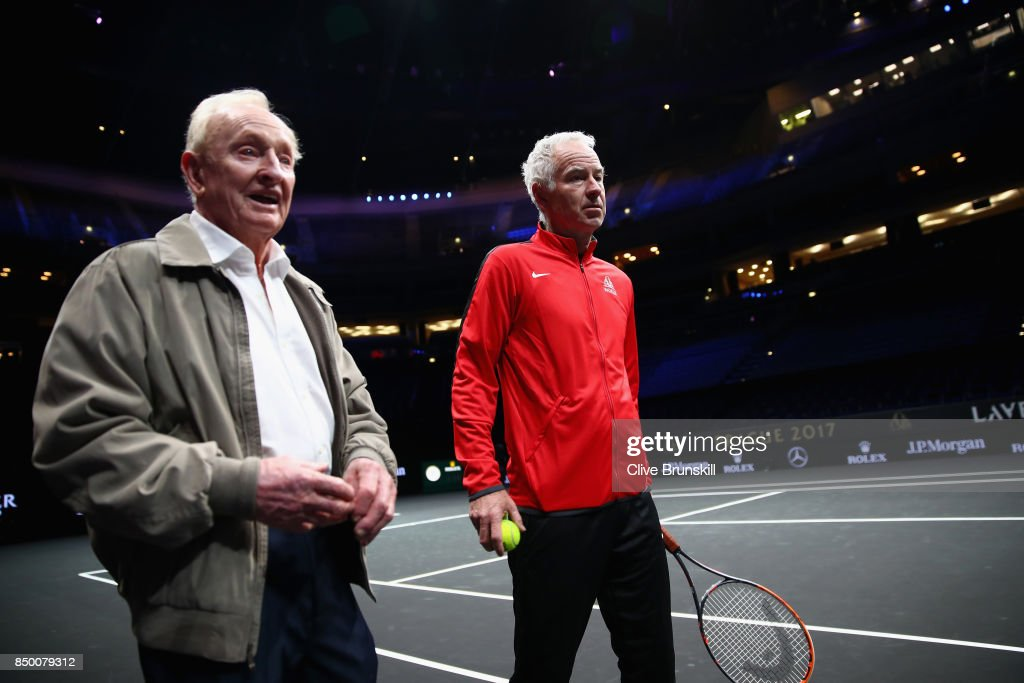 Rod Laver and John McEnroe of United States take a look inside the arena ahead of the Laver Cup on September 20, 2017 in Prague, Czech Republic. The Laver Cup consists of six European players competing against their counterparts from the rest of the World. Europe will be captained by Bjorn Borg and John McEnroe will captain the Rest of the World team. The event runs from 22-24 September.