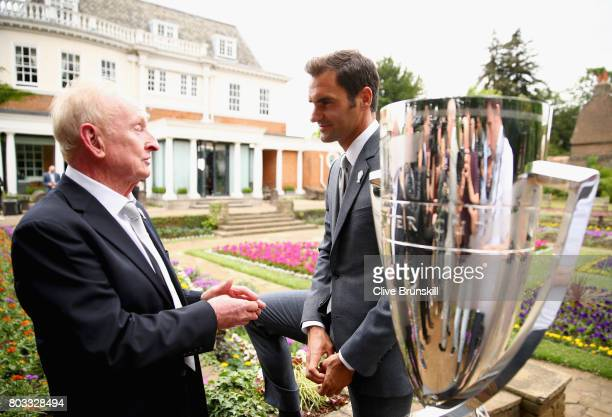Rod Laver and Roger Federer talk together at the unveiling of the Laver Cup trophy at Cannizaro House on June 29 2017 in Wimbledon England