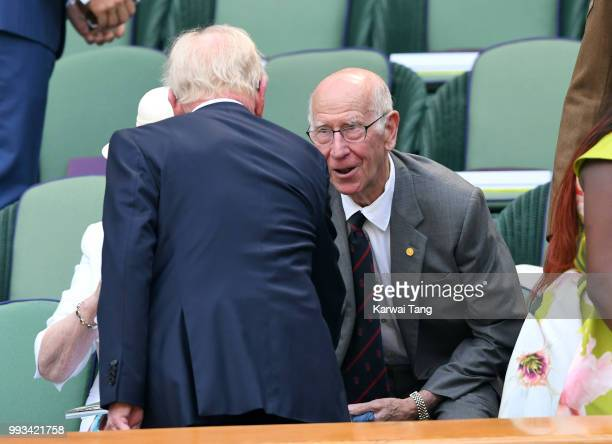 Rod Laver and Sir Bobby Charlton attend day six of the Wimbledon Tennis Championships at the All England Lawn Tennis and Croquet Club on July 7 2018...