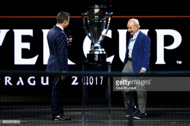 Rod Laver enters the arena during previews ahead of the Laver Cup on September 21 2017 in Prague Czech Republic The Laver Cup consists of six...