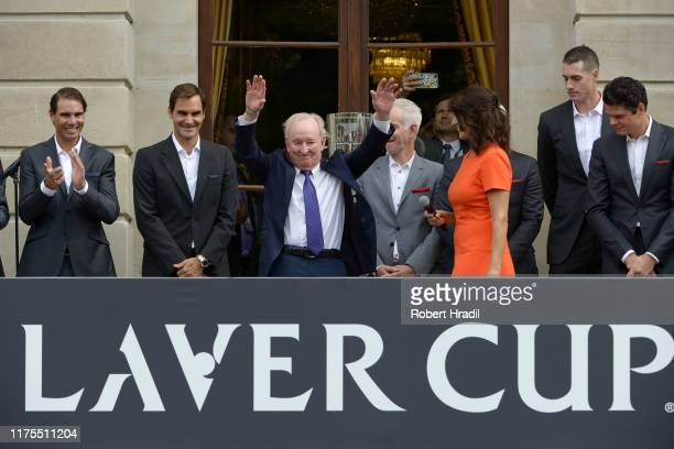 Rod Laver greets the crowd at Palais Eynard during the official welcome ceremony prior to the Laver Cup 2019 at Palexpo on September 18, 2019 in...