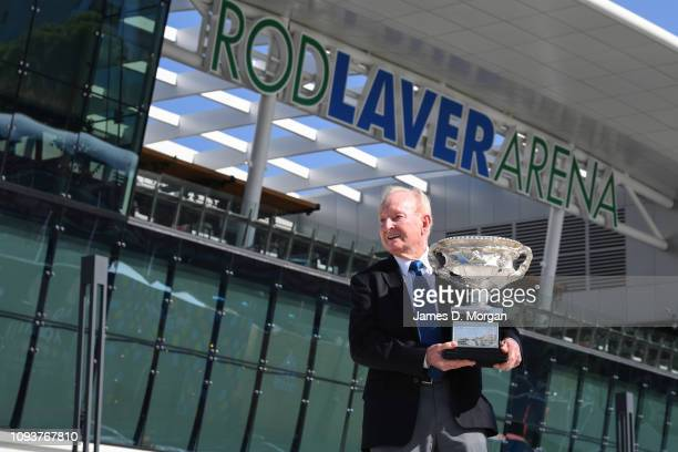 Rod Laver holds the Norman Brookes Challenge Cup as he opens day one of the 2019 Australian Open at Melbourne Park on January 14, 2019 in Melbourne,...