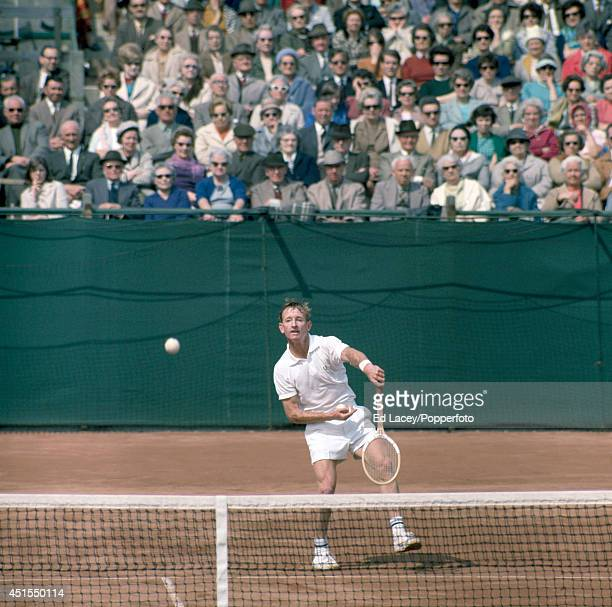 Rod Laver of Australia in action during the British Hard Court Championships, the first tennis tournament of the Open Era, in Bournemouth on 26th...