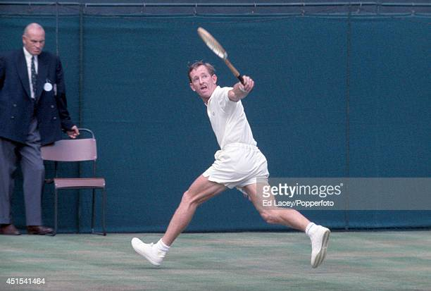 Rod Laver of Australia in action during the Wimbledon Pro tennis tournament circa August 1967 Laver beat countryman Ken Rosewall in the Final in...