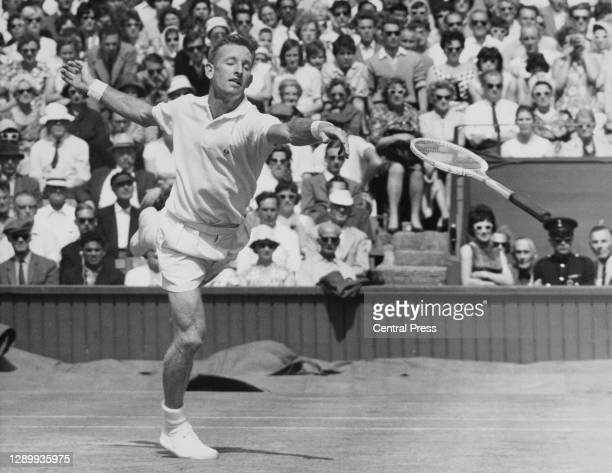 Rod Laver of Australia loses his racquet attempting a return against Ramanathan Krishnan of India during their Men's Singles Semi Final match at the...