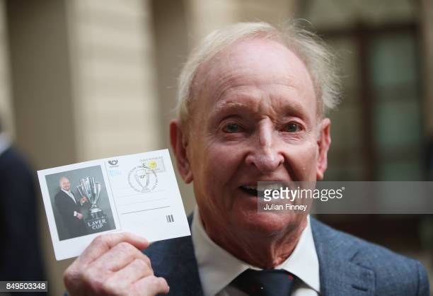 Rod Laver of Australia unveils a commemorative stamp ahead of the Laver Cup on September 19 2017 in Prague Czech Republic The Laver Cup consists of...