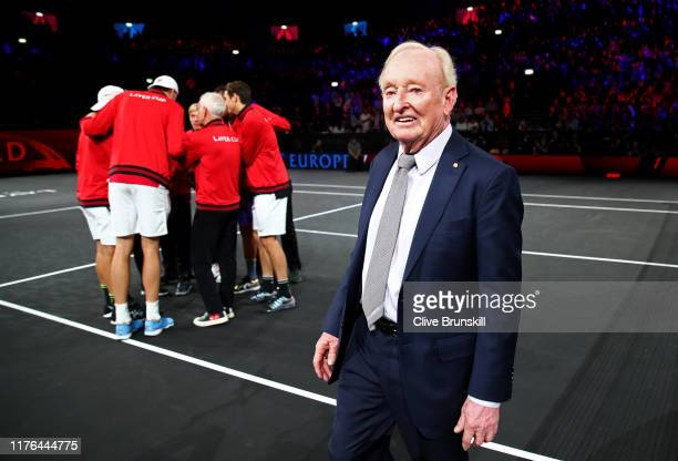 Rod Laver of Team Europe looks on as he leaves the court after being introduced to the crowd prior to the start of play during Day Three of the Laver...