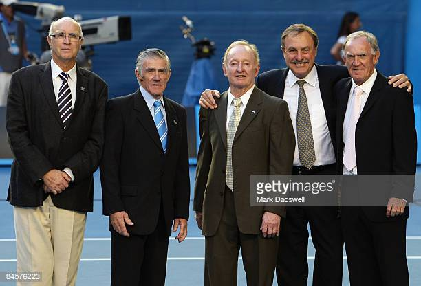 Rod Laver poses with Andres Gimeno Ken Rosewall John Newcombe and Tony Roche on Rod Laver Arena during day fourteen of the 2009 Australian Open at...