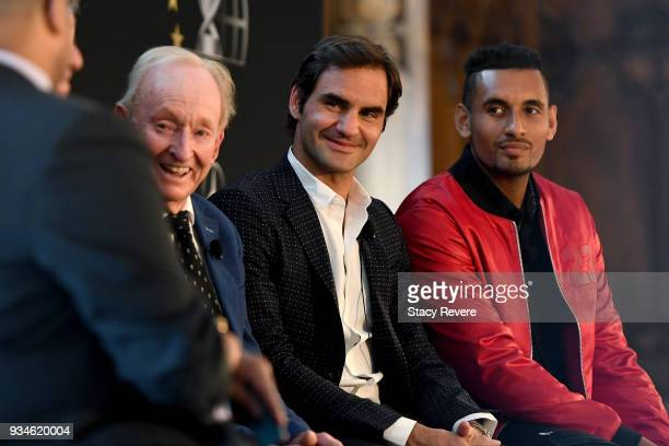 Rod Laver Roger Federer of Switzerland and Nick Kyrgios of Australia look on during a press conference at the Chicago Athletic Association during the...