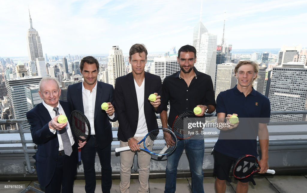 Rod Laver, Roger Federer, Tomas Berdych, Marin Cilic and Denis Shapovalov attend Laver Cup Team Announcement on August 23, 2017 in New York City.