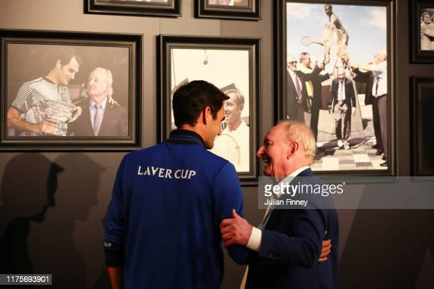 Rod Laver speaks with Roger Federer of Team Europe in the rocket club as he his first tour of Palexpo ahead of the Laver Cup 2019 at Palexpo on...