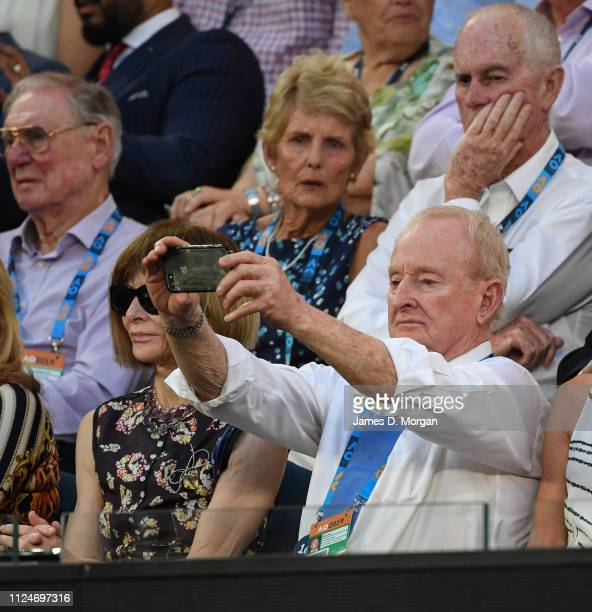 Rod Laver takes a photo with his camera phone as he attends the 2019 Australian Open at Melbourne Park on January 25 2019 in Melbourne Australia