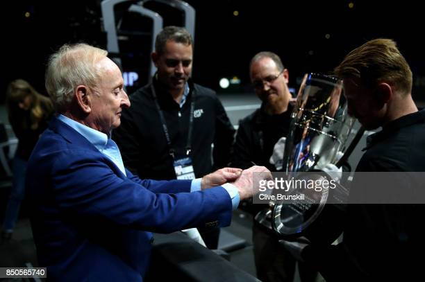 Rod Laver takes a picture of the Rod Laver Trophy during previews ahead of the Laver Cup on September 21 2017 in Prague Czech Republic The Laver Cup...