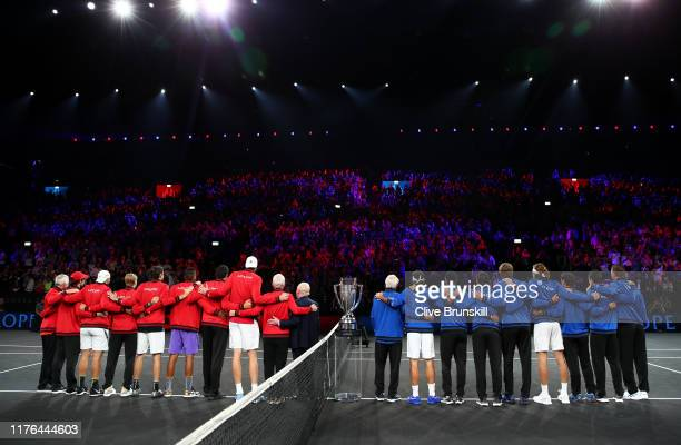 Rod Laver, Team World and Team Europe line up as they are introduced to the crowd prior to the start of play during Day Three of the Laver Cup 2019...