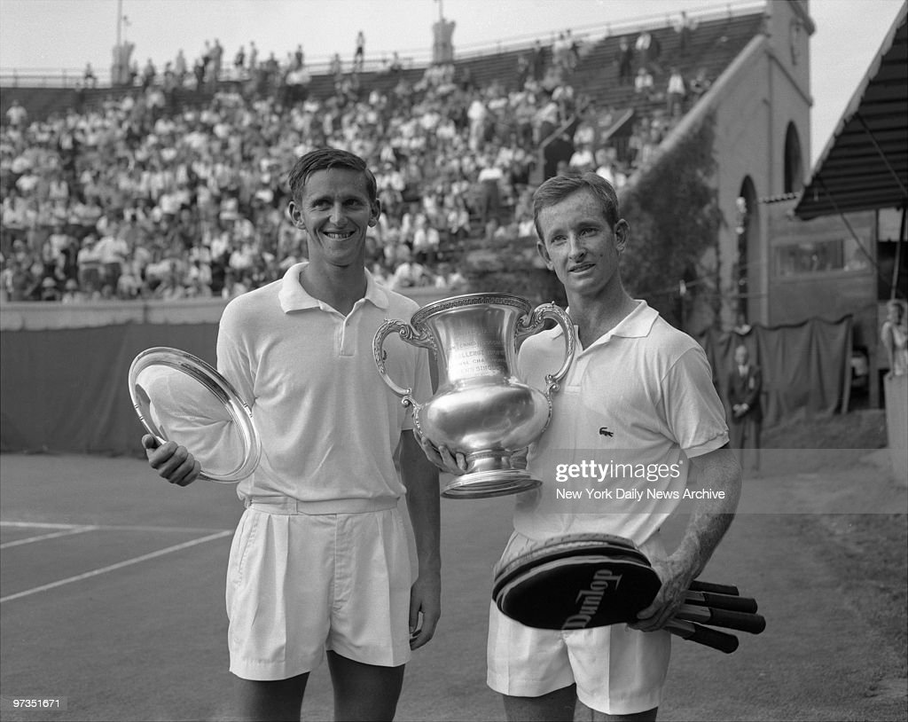 Rod Laver, the newest Triple crown winner in Tennis, poses with Roy Emerson They are both Australians.
