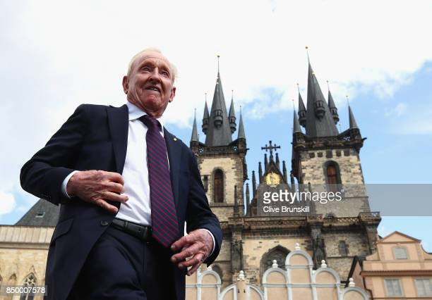 Rod Laver walks onto the stage ahead of the Laver Cup on September 20 2017 in Prague Czech Republic The Laver Cup consists of six European players...