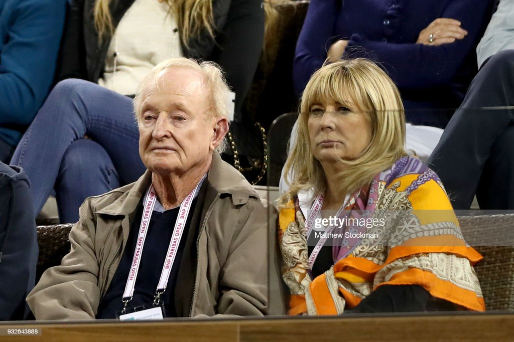 Rod Laver watches Roger Federer of Switzerland play Hyeon Chung of Korea during of the BNP Paribas Open at the Indian Wells Tennis Garden on March 15, 2018 in Indian Wells, California.