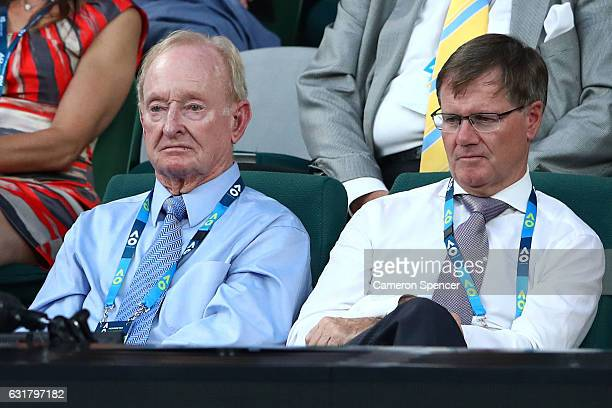 Rod Laver watches the first round match between Angelique Kerber of Germany and Lesia Tsurenko of the Ukraine on day one of the 2017 Australian Open...