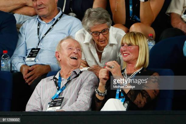 Rod Laver watches the men's singles final between Roger Federer of Switzerland and Marin Cilic of Croatia on day 14 of the 2018 Australian Open at...