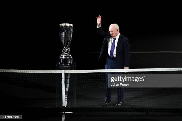Rod Laver waves to the fans as he is introduced during Day One of the Laver Cup 2019 at Palexpo on September 20, 2019 in Geneva, Switzerland. The...