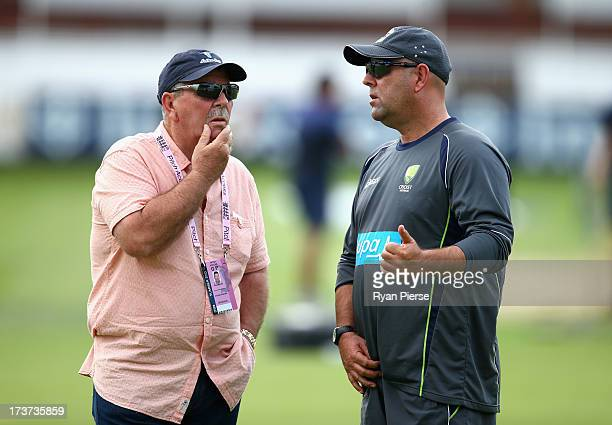 Rod Marsh Australian Selector and Darren Lehmann coach of Australia talk during an Australian Nets Session at Lord's Cricket Ground on July 17 2013...