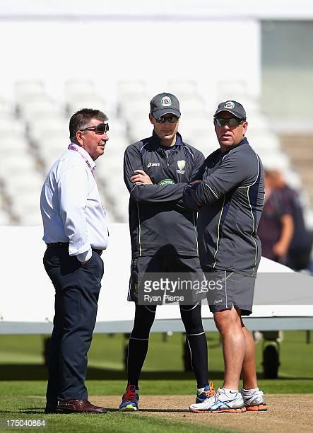 Rod Marsh Australian Selector Michael Clarke of Australia and Darren Lehmann coach of Australia talk on the pitch during an Australian Nets Session...
