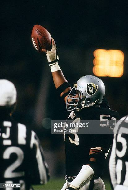 Rod Martin of the Los Angeles Raiders celebrates against the Washington Redskins during Super Bowl XVIII on January 22 1984 at Tampa Stadium in Tampa...