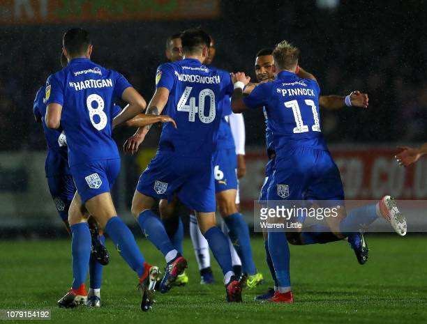 Rod McDonald of AFC Wimbledon celebrates scoring during the Sky Bet League One match between AFC Wimbledon and Rochdale at The Cherry Red Records...