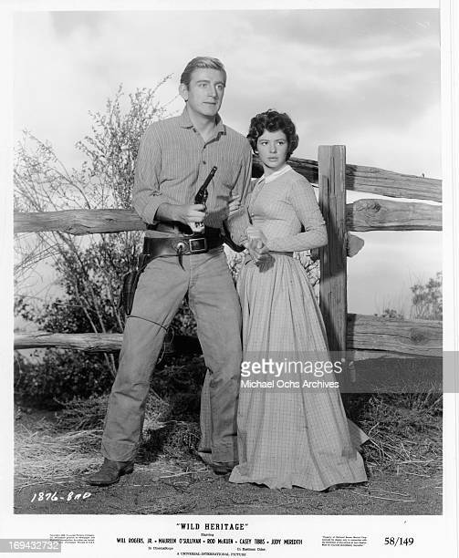 Rod McKuen holding gun in publicity portrait for the film 'Wild Heritage' 1958