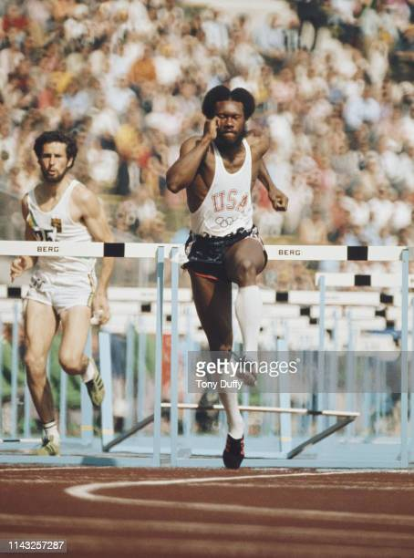 Rod Milburn of the United States competes in heat one of the Men's 110 metres Hurdles the XX Summer Olympic Games on 3 September 1972 at the Olympic...