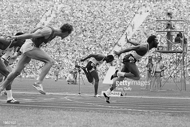 Rod Milburn of the USA crosses the line to win the gold medal in the 110m hurdles final event at the 1972 Summer Olympic Games in Munich Germany He...
