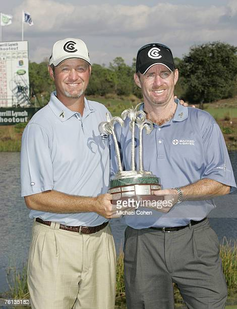 Rod Pampling and Jerry Kelly with the trophy after the third and final round of the Merrill Lynch Shootout at the Tiburon Golf Club in Naples Florida...