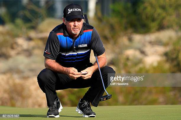 Rod Pampling of Australia lines up a putt on the 15th green during the final round of the Shriners Hospitals For Children Open on November 6 2016 in...
