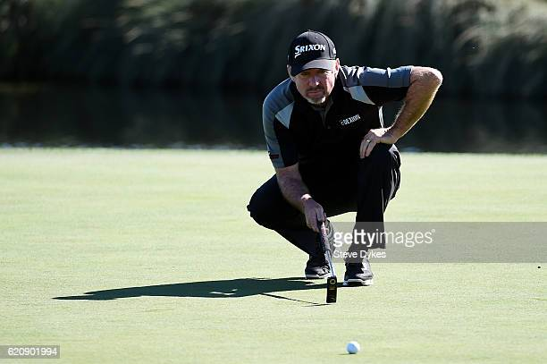 Rod Pampling of Australia lines up a putt on the 18th green during the first round of the Shriners Hospitals For Children Open on November 3 2016 in...