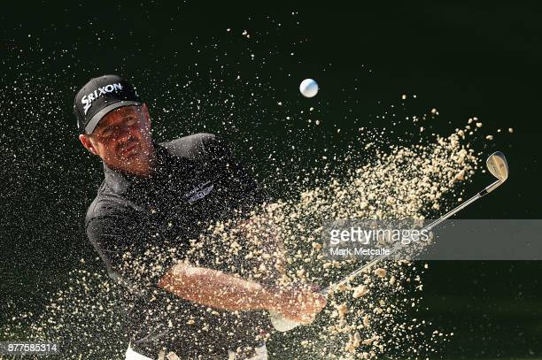Rod Pampling of Australia plays a bunker shot on the 14th hole during day one of the 2017 Australia Golf Open at The Australia Golf Club on November...