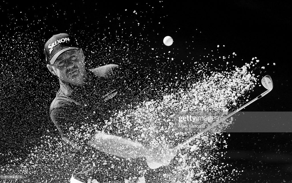 Rod Pampling of Australia plays a bunker shot on the 14th hole during day one of the 2017 Australia Golf Open at The Australia Golf Club on November 23, 2017 in Sydney, Australia.