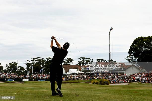 Rod Pampling of Australia plays his approach shot on the eighteenth hole during the fourth round of the 2008 Australian Masters at Huntingdale Golf...