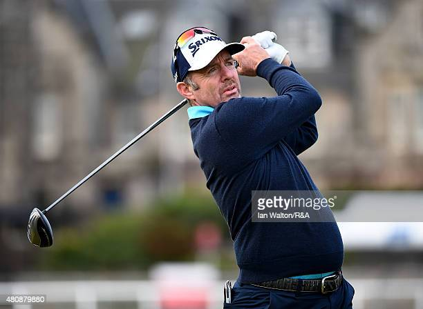 Rod Pampling of Australia plays off the second tee during the first round of the 144th Open Championship at The Old Course on July 16 2015 in St...