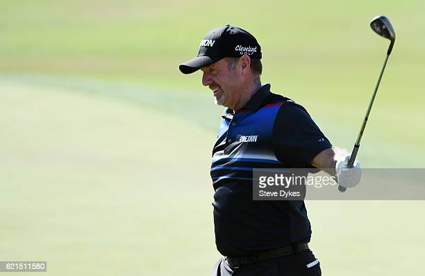 Rod Pampling of Australia reacts after chipping in on the eighth hole during the final round of the Shriners Hospitals For Children Open on November...