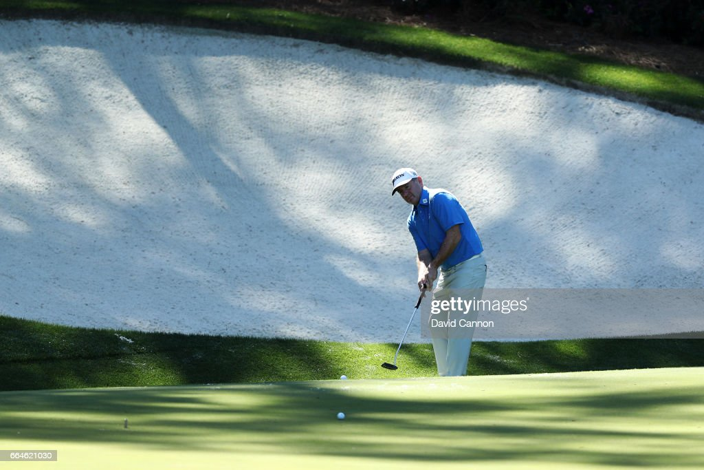 Rod Pampling of the United States plays a shot during a practice round prior to the start of the 2017 Masters Tournament at Augusta National Golf Club on April 4, 2017 in Augusta, Georgia.