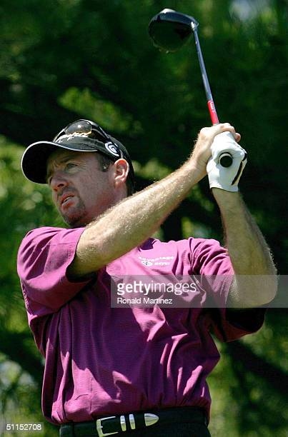 Rod Pampling watches his tees hot on the 10th hole during the International on August 8, 2004 at Castle Pines Golf Club in Castle Rock, Colorado....