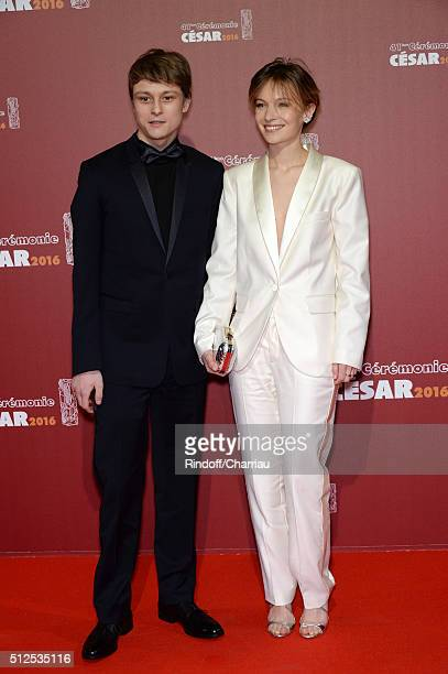 Rod Paradot and Diane Rouxel arrive at The Cesar Film Awards 2016 at Theatre du Chatelet on February 26 2016 in Paris France