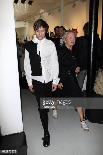 Rod Paradot and Stylist Agnes B walks the runway during the Agnes B Menswear Spring/Summer 2019 show as part of Paris Fashion Week on June 24 2018 in...