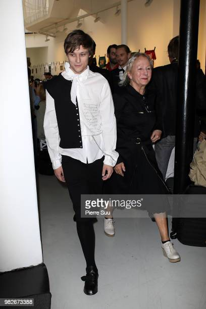 Rod Paradot and Stylist Agnes B walks the runway during the Agnes B. Menswear Spring/Summer 2019 show as part of Paris Fashion Week on June 24, 2018...